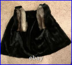Natural Black Mink Coat Size 12-16 WithBlack Fox Tuxedo Trim Collar And Sleeves