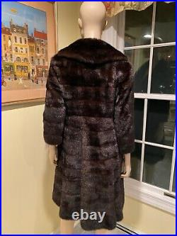 Natural Female Chocolate Brown Mink 40 Swing Real Fur Coat Size 4 Petite Small