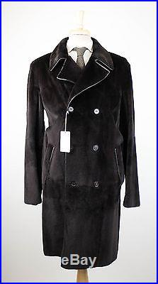 New. BRIONI Black Mink Fur Blend with Leather Double Breasted Coat 50/40/M $23,000