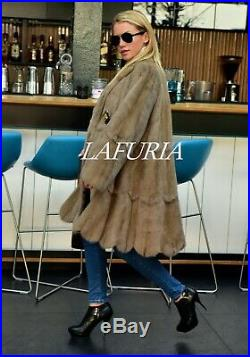 New Real Mink Fur Swinger Coat Clas Sable Chinchilla Long Jacket Fox Poncho Vest