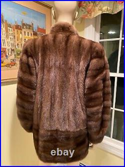 New! Size 14 Large 31 Long Genuine Real Chocolate Brown Mink Fur Jacket Coat