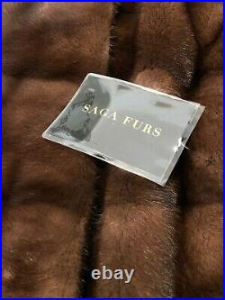 New With Tags Saga Furs Brown Mink Coat 3/4 Length Coat Size 12 /16 Will Fit All