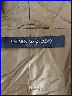 New WithO Tags CARMEN MARC VALVO Couture Saga Fur Genuine Mink & Fox Hooded Coat