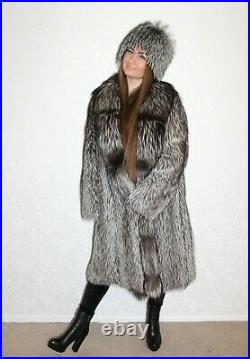 REAL SILVER FOX FUR COAT WITH HAT SILVER FOX JACKET not mink coat sable lynx fur