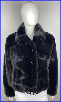 Ranch Mink Real Fur Black Brown Bomber Jacket Jean Style Leather Coat Size 8