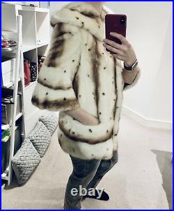 Real Genuine Mink Fur Coat Jacket Size M/L UK12 RRP £3000 made in Italy