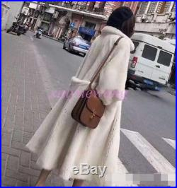 Real Genuine Mink Fur Long Coat Womens Soft Fur Thick Winter Warm Jacket Parkas