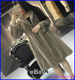 Real Genuine Mink Fur Long Womens Coats Lapel Thicken Winter Jackets Warm Parkas