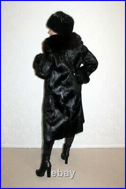 Real SILVER FOX FUR COAT Beaver FUR COAT WITH HAT BEAVER JACKET lynx mink sable
