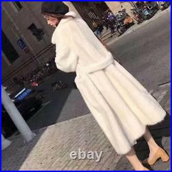 Real Thick Mink Soft Fur Long Coat Womens Oversized Winter Warm Jacket Parka New