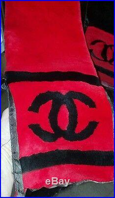 Red & Black Designer Sheared Mink French Coco 60 Scarf Wrap Coat New Muffler