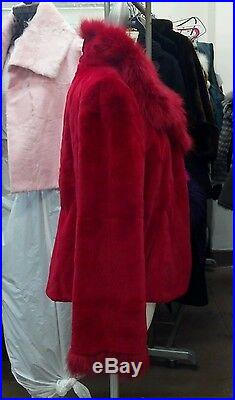 Red Sheared Mink & Fox Trimmed Jacket Coat Shaped Body Fabulous Style New