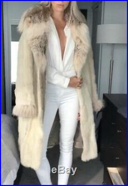 Restyled white lynx and mink fox long fur coat