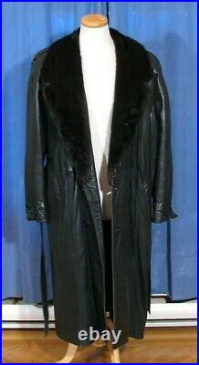 S-42 MEN'S PERFECT FUR LINED LEATHER COAT WithMINK FUR COLLAR MINT