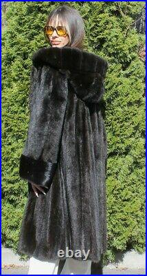 Saga Mink 100% Real Mink Fur Coat With Hood Outwear Clothing Swinger Trench