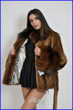 Saga Mink Fur Trench Coat Hood Clas Of Sable Chinchilla Long Jacket Vest Fox