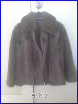 Silver/Grey Reversible Mink Fur Coat with Leather Lining