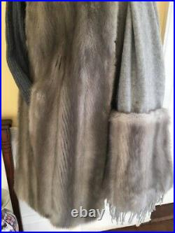 Silver Iris Grey Mink Sapphire Blue Long Vest Coat (Wrap Not Included Sold)