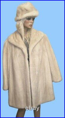 Size 14 or Large GENUINE LAVENDER MINK FUR COAT WITH MATCHING 21-23 INCH HAT