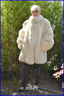 Stunning Genuine Cream Apricot Fox Fur Coat Not Mink Or Sable Large