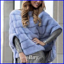 Top Quality Women 100% Real Whole Skin Mink Fur Jacket Coat Poncho Cape Pullover