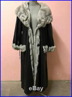 Umberto Olivieri Leather Coat with Fur Collar and Sleeves size 44/46