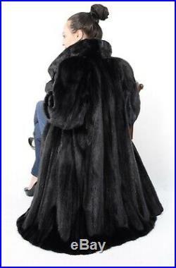 Us1832 Modern Black Mink Fur Coat Full Lentgh Jacket Size XL Nerzmantel