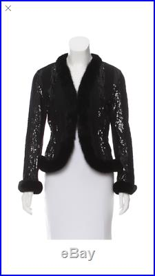 VALENTINO Black Sequin Beaded Mink FUR Trim Jacket Coat