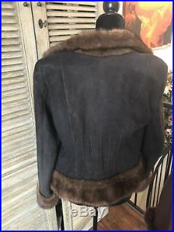 VALENTINO Brown MINK and Lamb Skin Fur Coat! Excellent! Size S