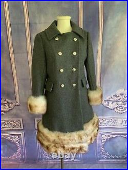 VINTAGE 70s Country Pacer Charcoal Wool & Mink Fur Pea Swing Coat XS/S Collar