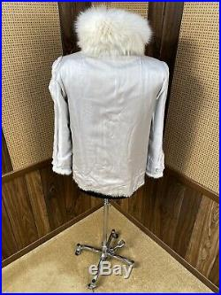 VINTAGE DYED WHITE CORDUROY MINK With FOX COLLAR FUR JACKET COAT SMALL 4 6