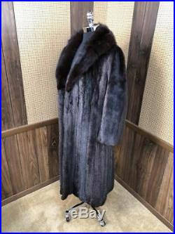 VINTAGE FULL LENGTH DARK RANCH MINK With SABLE FUR COLLAR COAT JACKET SMALL 4 6
