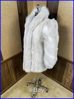 VINTAGE IVORY BLUSH MINK With FOX COLLAR + SLEEVES FUR COAT JACKET SMALL 2 4