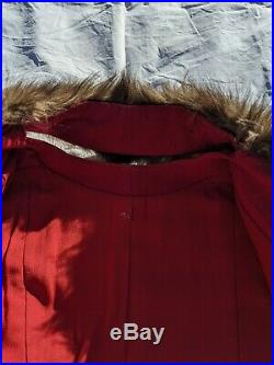 Vintage 30s 40s Red Wool Lantern Poet Sleeve Insulated Fur Collar Coat L/XL