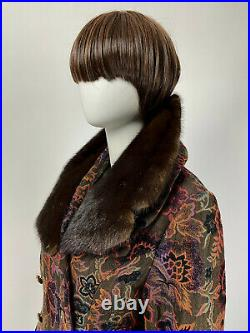 Vintage 60s 70s Mod Coat TAPESTRY Boho FUR COLLAR TRIM Double Breasted M L B321