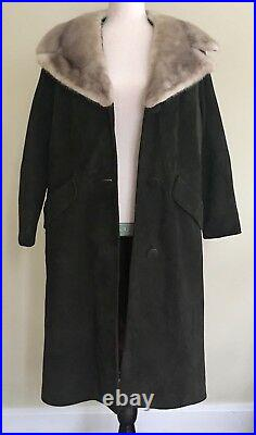 Vintage 60s Suede Coat with Big Gray Mink Fur Collar Chocolate Brown Size XS S
