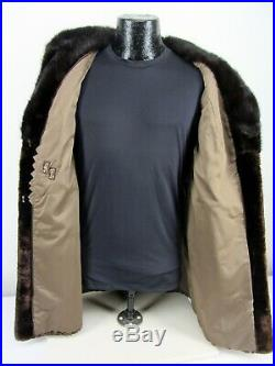 Vintage Genuine Brown Sheared Fur with Mink Collar Women's XL Coat