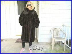 Vintage Mahogany Mink Coat With A Huge Collar And Horizontal Sleeves Size M/l