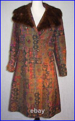 Vintage Stiefel's Betty Rose Tapestry Coat Mink Fur Collar Beautiful Penny Lane
