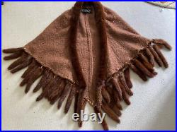Vtg 1950s Christian Dior Mohair And Mink Shawl Overal Poncho Coat