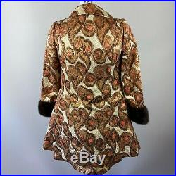 Vtg 60s Metallic Brocade Gold Dress with Matching Coat Mink Fur Trim XS/Small