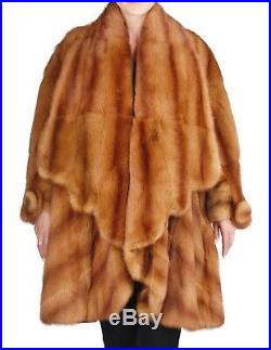 WOW! XL FENDI KOLINSKY MINK FUR CAPE COAT, LIGHT BROWN RED withSTORAGE BAG