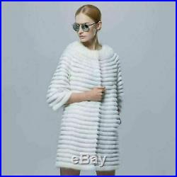 White Mink Fur Coat With Leather Stripes Elbow Length Sleeves