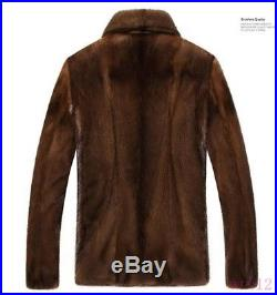 Winter Men Real Mink Fur Coat Furry Warm Thick Casual Chic Jacket Outwear Parka