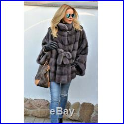 Women 100% Real Natural Whole Skin Mink Fur Coat Jacket Poncho Cape Waist Belted