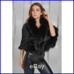 Women's 100% Real Knitted Mink Fur Coat Fox Fur Collar Cape Poncho Jacket Gifts