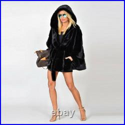 Women's 100% Real Mink Fur Coat Hooded Winter Fashion Belted Poncho Cape Jacket