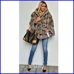 Women's Natural Real Mink Fur Coat Hooded Belted Bat-Sleeved Poncho Hoodie Cape