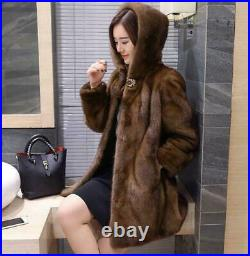 Women's Real Mink Fur Coat Hooded Solid Thicken Jacket Winter Long Outdoor Parka