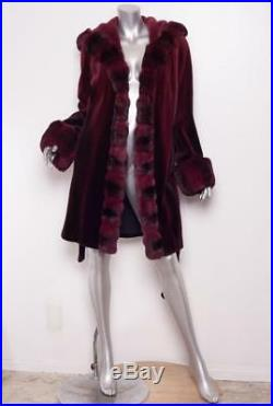 Womens Burgundy CHINCHILLA + SHEARED MINK Robe Hooded Coat Jacket Outerwear 12